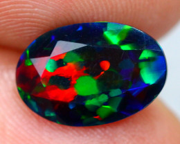 1.77ct Ethiopian Welo Faceted Cut Smoked Black Opal / 01