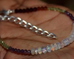 Natural Ethiopian Opal Peridot Garnet Amethyst Beads Bracelet 181