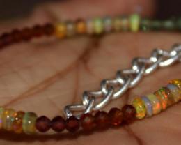 Natural Ethiopian Opal, Garnet & Apatite Beads Bracelet 183