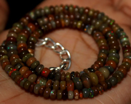 44 Crt Natural Ethiopian Welo Fire Opal Beads Necklace 139