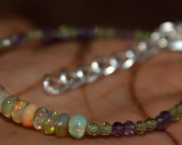 Natural Ethiopian Welo Fire Opal Amethyst & Peridot Beads Bracelet 185