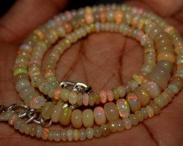 41 Crt Natural Ethiopian Welo Fire Opal Beads Necklace 145
