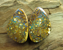 "41cts,""BOULDER MATRIX OPAL~GEM PAIR"""