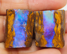 63.30CT ROUGH GEM WOOD FOSSIL PAIR QUEENSLAND BOULDER OPAL  PJ20