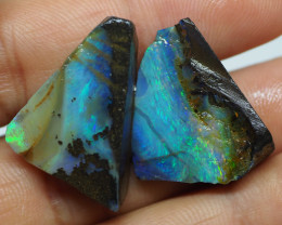 38.85CT ROUGH PAIR QUEENSLAND BOULDER OPAL  PJ35