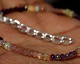 Natural Ethiopian Opal Sunstone Garnet Amethyst Beads Bracelet 166