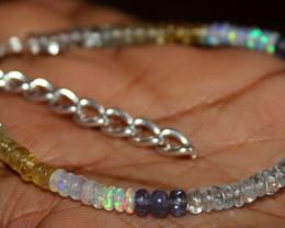 Natural Ethiopian Welo Opal Aquamarine Tanzanite Beads Bracelet 167