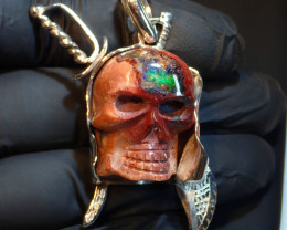 115ct Skull Unique  Matrix Opal Pendant Sterling Silver .925 Artwork