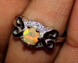 Natural Ethiopian Welo Fire Opal 925 Silver Ring Size (4.5 US ) 216