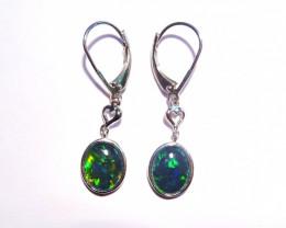 Beautiful Gem Australian Opal and Sterling Silver Earrings (3380)