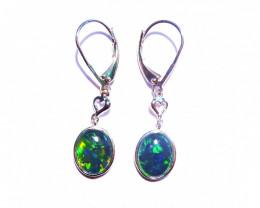 Beautiful Gem Australian Opal and Sterling Silver Earrings