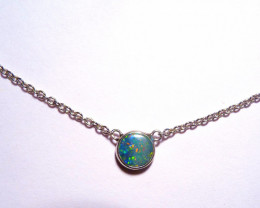 Beautiful Bright Doublet Australian Opal and Sterling Silver Pendant (3418)