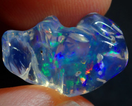 7.68CT  EXTREMELY BRIGHT CARVED  SUPREME MEXICAN  FIRE  OPAL