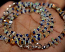 25 Crt Natural Ethiopian Welo Fire Opal & Lapis Lazuli Beads Necklace