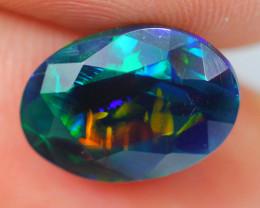 2.18ct Ethiopian Welo Faceted Cut Smoked Black Opal / DE364