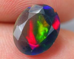 1.60ct Ethiopian Welo Faceted Cut Smoked Black Opal / DE366