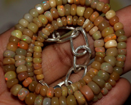 61 Crt Natural Ethiopian Welo Fire Opal Beads Necklace 163