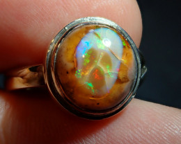 16.45ct Mexican Matrix Cantera Multicoloured Fire Opal .925  Sterling Ring