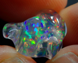 3.37ct Mexican  Fire Opal  Bright Carved