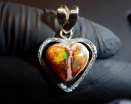 Heart Pendant  Mexican Matrix Cantera Multicoloured Fire Opal