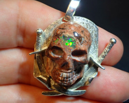 Unique Skull Pendant Pirate  Mexican Precious Matrix Cantera Opal