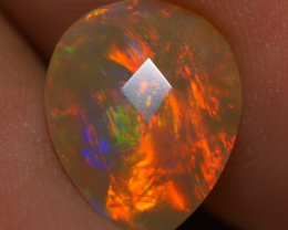2.46 CT  RED BLUE FLASH Double Sided Faceted Ethiopian Opal - BAF78