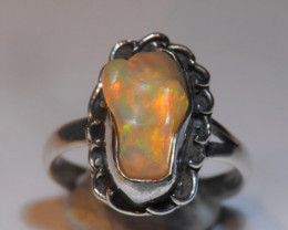 7sz  Multicoloured Fire Welo Opal Sterling Ring