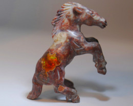 78CT MEXICAN MATRIX OPAL  BRIGHT CARVED  HORSE FIGURINE