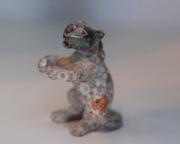 58CT MEXICAN MATRIX OPAL  BRIGHT CARVED  BIG CAT FIGURINE