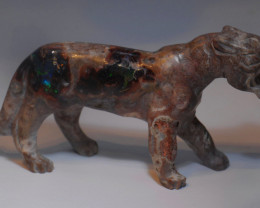 87.5CT MEXICAN MATRIX OPAL  BRIGHT CARVED  BIG CAT FIGURINE