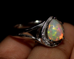 Natural Ethiopian Welo Fire Opal 925 Silver Ring Size (7 US) 236