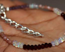 Natural Ethiopian Opal Amethyst Sunstone Garnet Beads Bracelet 171