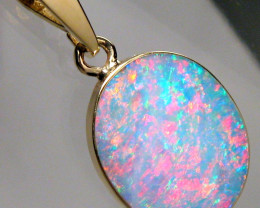 Australian Opal Pendant 4.5ct 14k Gold Authentic Genuine Inlay Jewelry Gift