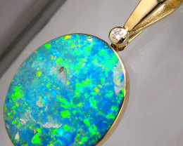 19.9ct 14k Gold Rare Large Natural Opal & Diamond Pendant Jewelry Neckl