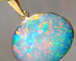Australian Opal Pendant 7.7ct 14k Gold Authentic Genuine Inlay Jewelry Gift