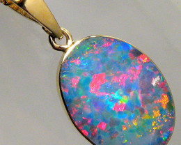 Australian Opal Pendant 5.5ct 14k Gold Authentic Genuine Inlay Jewelry Gift