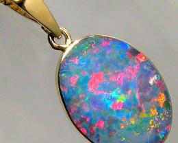 Australian Opal Pendant 5.5ct 14k Gold Authentic Genuine Inlay Jewelry Gift