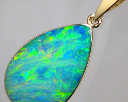 Australian Opal Pendant 5.8ct 14k Gold Authentic Genuine Inlay Jewelry Gift