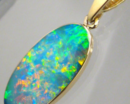 Australian Opal Pendant 4.4ct 14k Gold Authentic Genuine Inlay Jewelry Gift