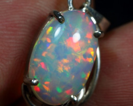9.65cts Floral Patchwork Natural Ethiopian Opal 925 Silver Pendant