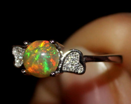 Natural Ethiopian Welo Fire Opal 925 Silver Ring Size (5 US) 233