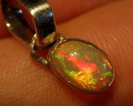 Pretty Bright Natural Ethiopian Welo  Opal .925 Sterling Pendant