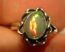 3sz Midi Pretty Bright Natural Ethiopian Welo  Opal .925 Sterling  Midi Rin