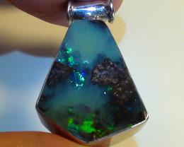 30.75 ct 925 Solid Silver Gem Blue Green Boulder Opal Pendant