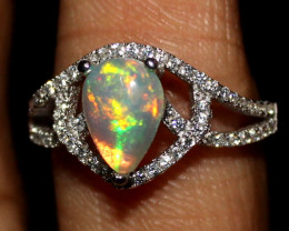 Natural Ethiopian Welo Fire Opal 925 Silver Ring Size ( 7 US) 1