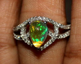 Natural Ethiopian Welo Fire Opal 925 Silver Ring Size ( 7 US) 10