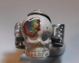 7sz Mexican Matrix Cantera Multicoloured Fire Opal Sterling Silver Ring