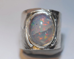 6sz Mexican Matrix Cantera Multicoloured Fire Opal Sterling Silver Ring