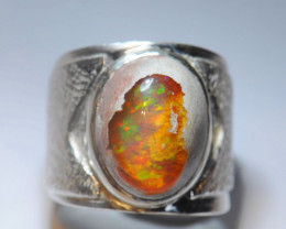 8sz Mexican Matrix Cantera Multicoloured Fire Opal Sterling Silver Ring