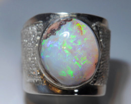 9.5sz Mexican Matrix Cantera  Fire Opal Sterling Silver Ring